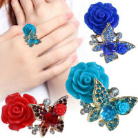 Retro Butterfly Crystal Ring Rose Flower Adjustbale Women Ethnic Party Jewelry