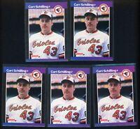 (5) 1989 Donruss Baseball Curt Schilling ROOKIE RC #618 LOT Baltimore Orioles