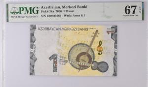 Azerbaijan 1 Manat 2020 P 38 a Superb Gem UNC PMG 67 EPQ