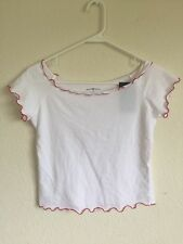 New! brandy melville white with red trim crop off -shoulder cotton rin top NWT