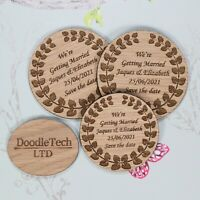 Wooden Wreath Pattern Save The Date Personalised Wedding Invite Magnets Rustic