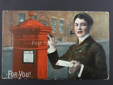 Postman G.P.O. For You YOUNG GENTLEMAN POSTS LETTER IN PILLAR BOX c1908 Postcard