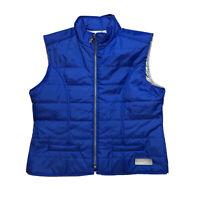 NEW $62 Womens TALBOTS Lightweight Zip Front Royal Blue Puffer Vest Size L - XL