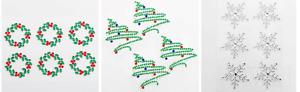 Self Adhesive Diamante Christmas Embellishments Snowflakes Trees Holly Wreaths