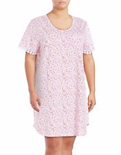 NWT Karen Neuburger Plus Size 1X Sleep Shirt Dress Nightshirt Pink White Floral