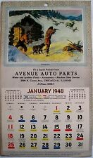 """1948 Advertising Hunting & Fishing Calendar For """"Avenue Auto Parts"""" Chicago *"""