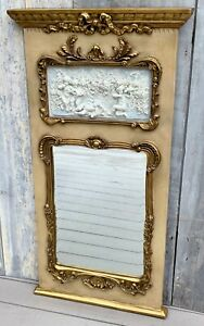 Vintage French Louis XV Large Trumeau Mirror w/ Gilt on Cream, Foliate, Cherubs