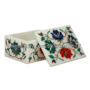 Jewellery Box 3x4 White Marble Inlay Trinket Box for Home Decor Wedding Gifts