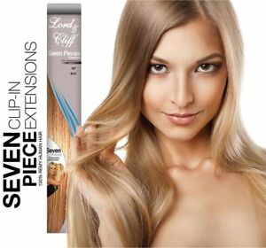 NEW LORD & CLIFF 14 inch 7 Piece Remy Human Hair Clip-In Extensions Color 16/613