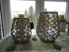 Trendy Windlicht braun Seemannsknoten-Optik ca. 25 cm hoch Glaseinsatz für Kerze