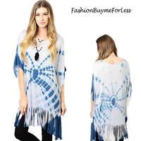Hippie BOHO Gypsy Blue Tie Dye Kimono Sleeve Oversized Fringe Tunic Top S M L XL