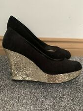 New Look Black & Gold Glitter Wedge Heels Shoes Size 4