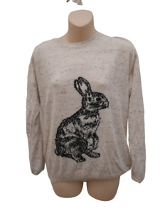 TU Rabbit Jumper Ladies Size 12 Cream Stretchy Top Womens Casual Pullover