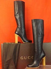 NIB GUCCI EDITH BLACK LUXOR KID LEATHER  ZIP TALL PLATFORM  BOOTS 36  6 $1695