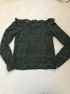 NEW LOOK Women's Green Lace Bardot Top: Size 12