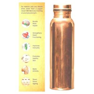 100% Pure Copper Water Bottle For Yoga Ayurveda Health Benefits 950 ml
