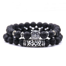 2pcs/set Handmade Natural Stone Bracelet Women Men Owl Spacer Bracelets Jewelry