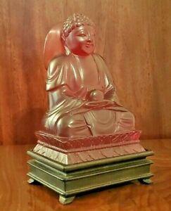 Rare Vintage Unique Carved Amber Bakelite Medicine Buddha Figurine