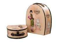 2x Koffer Beautycase Dame Box Truhe Kofferset Kosmetikbox Holz antik Stil