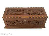 Antique Carved Wood Glove Box / Dresser - Sailor Made Nautical Memory Box