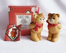 "Vintage 1980 Enesco Lucy and Me ""Teddy Bear with Gift"" 2 Piece Set 3"""