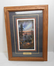 """Kim Norlien """"Night Fire"""" Print Aurora Borealis Matted, Framed, Signed, Dated"""