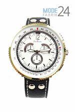 Herrenuhr Jay Baxter Lederarmband Uhr Silber Schwarz Herren Chrono Look Flieger