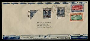 DR WHO 1942 GUATEMALA OVPT SLOGAN CANCEL AIRMAIL TO CANAL ZONE BISECT  f74692