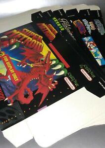 SNES Display BOX lot Super Nintendo Metroid TETRIS Mario Paint Kirby's (no game)