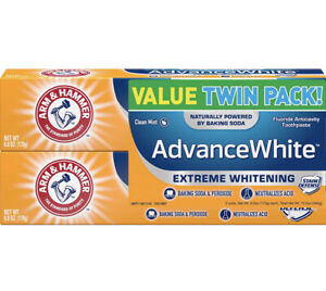 ARM & HAMMER Advanced White Extreme Whitening Toothpaste, Twin Pack 6oz X2