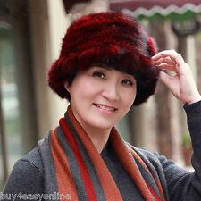 Burgundy Real Mink Fur Cap Winter Bucket Warm Flower Women Hat Gift for Mom