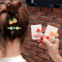 KE_ 2Pcs/Set Fruit Flower Hairpin Kawaii Women Hair Clip Barrette Headwear Gif