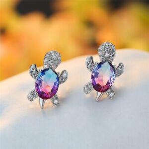 Blue Purple Oval Zircon Rainbow Stone Turtle Stud Earrings For Women Jewellery