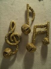 "Kurt S Adler ""GOLD GLITTER MUSIC NOTE ORNAMENT SET""  ~ Set of 3"