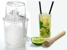 Manual Clear Acrylic Ice Cube Crusher New In Box & Cocktail Muddler