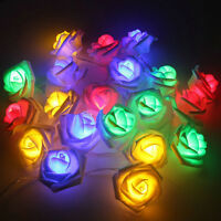 20 LED String Lights Rose Flower Fairy Wedding Garden Party Christmas Decor Xmas