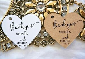 10 Kraft White Gift Tags Wedding Favour Bomboniere Personalised Thank you Heart