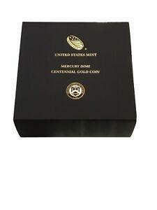 🌟2016-W 1/10 OZ .9999 GOLD CENTENNIAL MERCURY DIME COIN w/BOX & COA US Mint