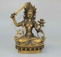 Collectible Buddhism Temple Manjushri Bodhisattva Old Copper buddha Statue 文殊菩萨