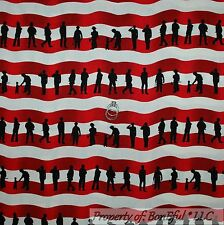 BonEful Fabric Cotton Quilt Red 911 Stripe Fire*man Hero America*n Flag US SCRAP
