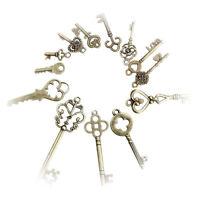 Antique Vintage Old Look Skeleton Keys Lot Bronze Tone Pendants Mix Jewelry 13pc