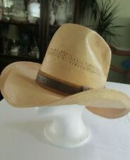 VINTAGE John B. Stetson Roadrunner Cowboy Hat Woven Straw Bryantcote SZ 6 7/8