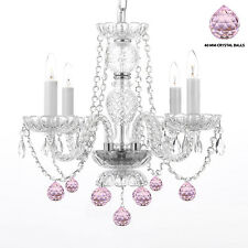 Murano Venetian Style All Crystal Chandelier Dressed W/ Pretty Pink Crystal Ball