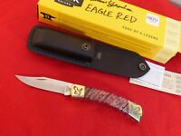 Buck Custom USA Yellowhorse 110 new in box Eagle red mammoth lockback knife