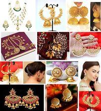 Indian Bollywood Bahubali Gold Tone Pearl Jhumki Jhumka Earrings Polki Jewelry