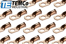 "25 Lot 4 AWG 3/8"" Hole Ring Terminal Lug Bare Copper Uninsulated Gauge"