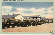 Postcard Ft Devens Massachusetts Ambulances Army WWII Middlesex County MINT 40s