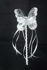 FLOWER GIRL OR BRIDESMAID SILVER BUTTERFLY WAND WITH CRYSTALS