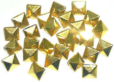 SQUARE PYRAMID STUDS WITH 2 PRONGS, 10MM X 10MM, GOLD OR SILVER, CHOOSE QUANTITY