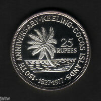 Cocos Keeling Islands. 1977 25 Rupees.. Silver  BU - SCARCE..